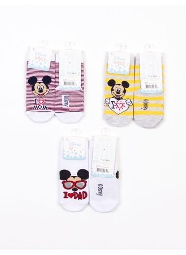 Mickey Mouse   Lisanslı 6 Çift Bebek Çorap 18219 Kırmızı